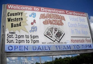 Alabama Jack's sign proclaiming Downtown Card Sound, Florida Keys