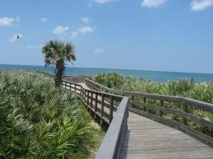 Beach access boardwalk to Apollo Beach, one of Florida's best beaches.