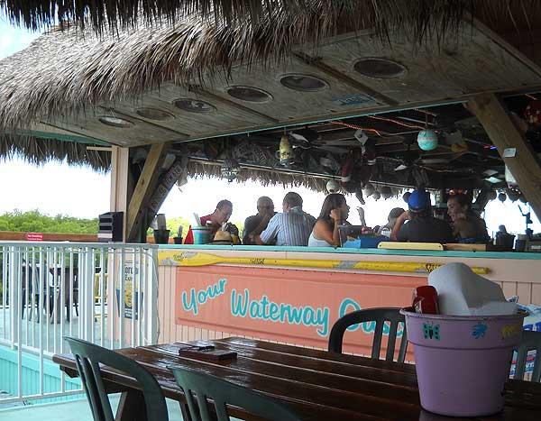 Florida Keys: The bar at the Chiki Tiki at Burdines Marina in Marathon