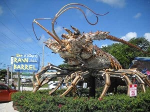 Giant lobster at entrance to Rain Barrel Village in the Florida Keys